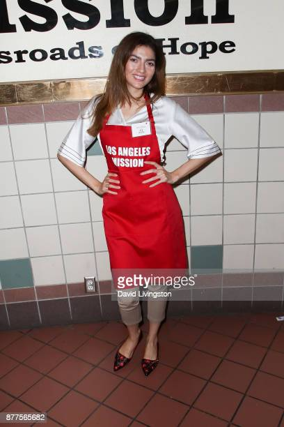 Blanca Blanco is seen at the Los Angeles Mission Thanksgiving Meal for the homeless at the Los Angeles Mission on November 22 2017 in Los Angeles...