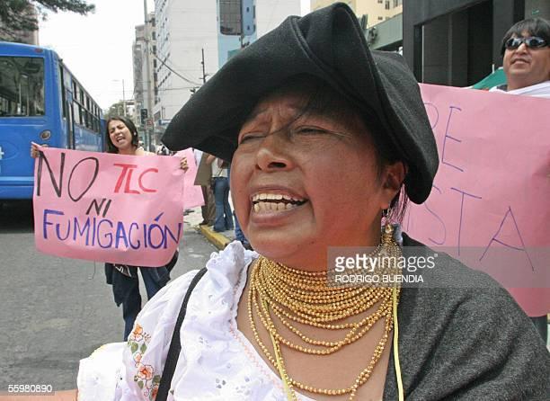 Blanca Chancoso dirigente indigena ecuatoriana grita consignas a las afueras de la embajada de Colombia en Quito el 21 de octubre de 2005 El...
