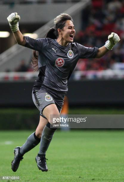 Blanca Felix of Chivas celebrates during the Final match between Chivas and Pachuca as part of the Torneo Apertura 2017 Liga MX Femenil at Chivas...