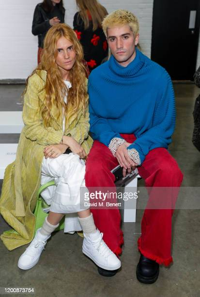 Blanca Miró Scrimieri and Guest attend the Marques'Almeida show during London Fashion Week February 2020 at The Old Truman Brewery on February 15...