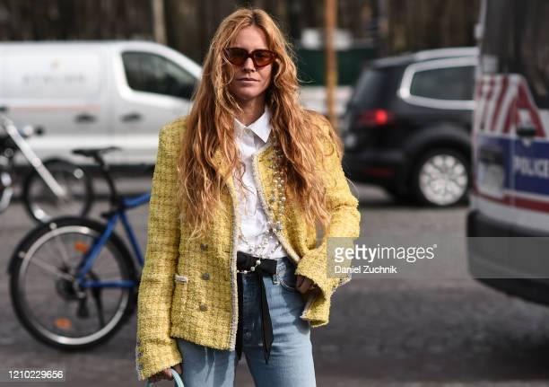 Blanca Miro is seen wearing a yello Chanel jacket outside the Chanel show during Paris Fashion Week: AW20 on March 03, 2020 in Paris, France.