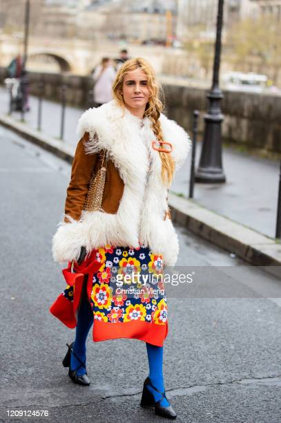 Blanca Miro is seen wearing shearling jacket dress with print outside Paco Rabanne during Paris Fashion Week Womenswear Fall/Winter 2020/2021 Day...