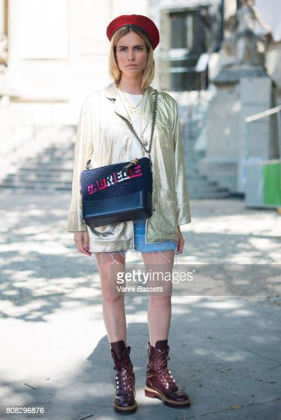 Blanca Miro poses wearing Chanel after the Chanel show at the Grand Palais during Paris Fashion Week Haute Couture FW 17/18 on July 4 2017 in Paris...