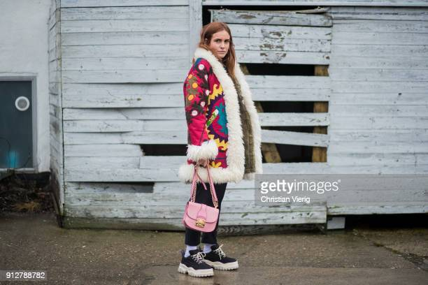Blanca Miro Scrimieri outside Cecilie Bahnsen during the Copenhagen Fashion Week Autumn/Winter 18 on January 31 2018 in Copenhagen Denmark