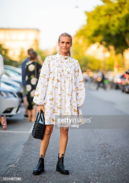 Blanca Miro Scrimieri wearing dress is seen outside Saks Potts during the Copenhagen Fashion Week Spring/Summer 2019 on August 9 2018 in Copenhagen...