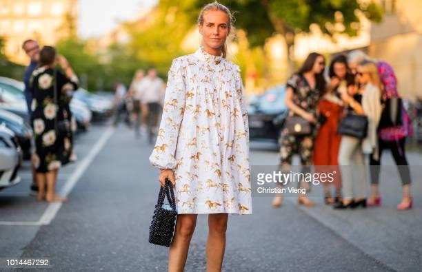 Blanca Miro Scrimieri wearing dress is seen outside Saks Potts during the Copenhagen Fashion Week Spring/Summer 2019 on August 9 2018 in Copenhagen...