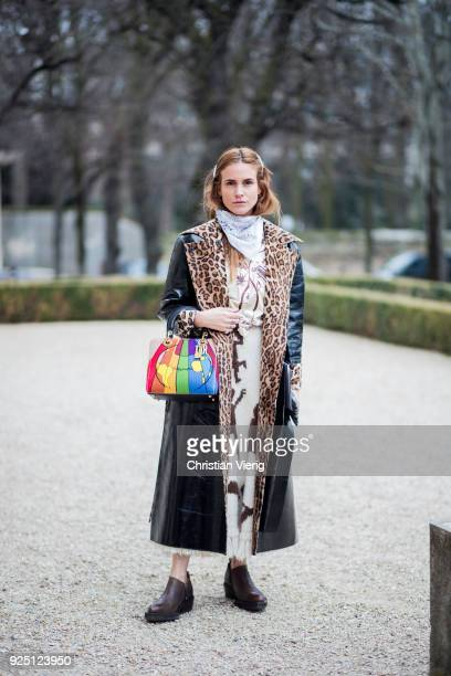 Blanca Miro Scrimieri wearing leopard print coat is seen outside Dior on February 27 2018 in Paris France