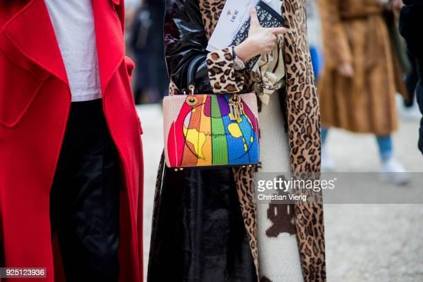 Blanca Miro Scrimieri wearing leopard print coat mulit colour bag is seen outside Dior on February 27 2018 in Paris France