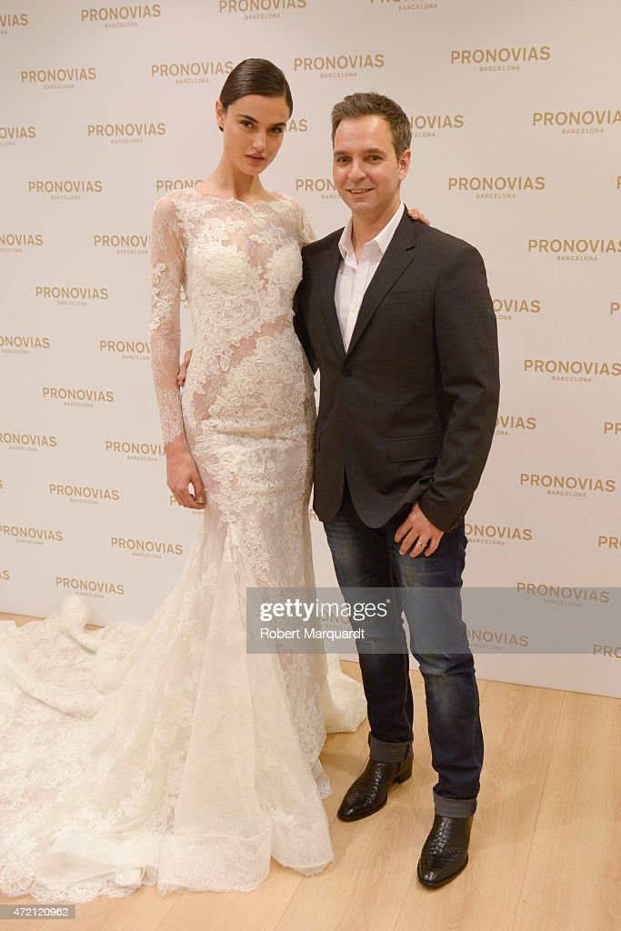Blanca Padilla (L) and Herve Moreau (R) pose during a press presentation for the Atelier Pronovias 2016 collection on May 4, 2015 in Barcelona, Spain.