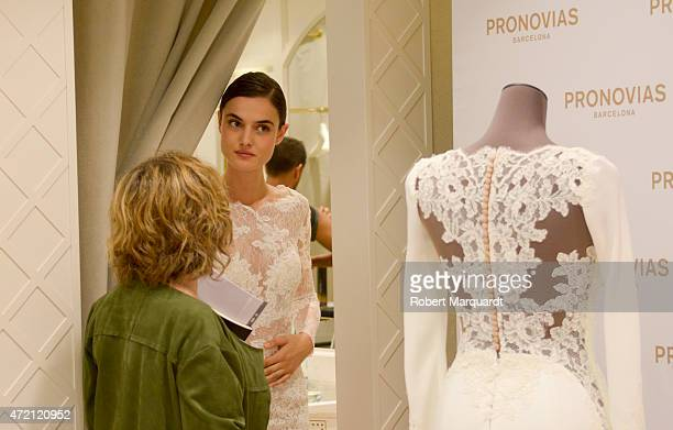 Blanca Padilla attends a press presentation for the Atelier Pronovias 2016 collection on May 4 2015 in Barcelona Spain