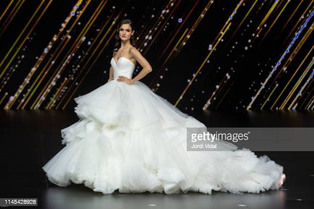 Blanca Padilla attends Pronovias rehearsal during Valmont Barcelona Bridal Fashion Week at Fira Barcelona Montjuic on April 26 2019 in Barcelona Spain