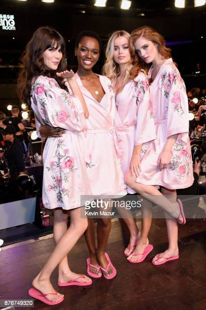 Blanca Padilla Herieth Paul Frida Aasen and Alexinia Graham pose in Hair Makeup during 2017 Victoria's Secret Fashion Show In Shanghai at...