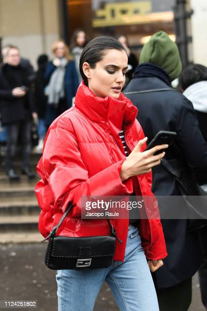 Blanca Padilla is seen arriving at Elie Saab during Paris Fashion Week Haute Couture Spring Summer 2020 on January 23 2019 in Paris France