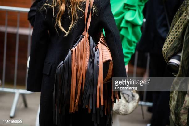 Blanca Padilla is seen wearing black brown bag with fringes outside AWAKE Awake during London Fashion Week February 2019 on February 16 2019 in...