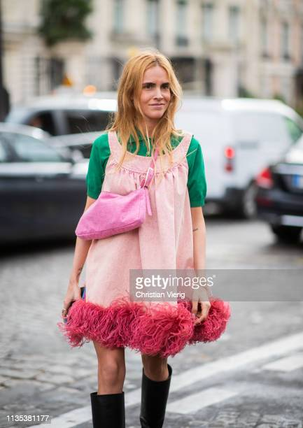 Blanca Padilla is seen wearing pink dress outside Miu Miu during Paris Fashion Week Womenswear Fall/Winter 2019/2020 on March 05 2019 in Paris France