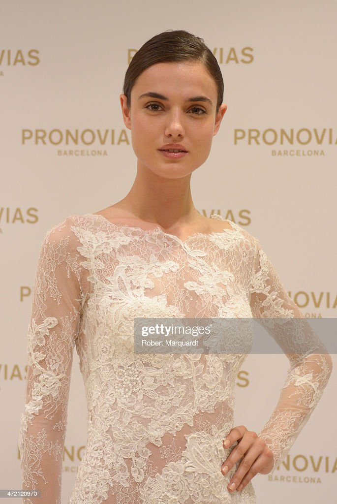 Blanca Padilla poses during a press presentation for the Atelier Pronovias 2016 collection on May 4, 2015 in Barcelona, Spain.