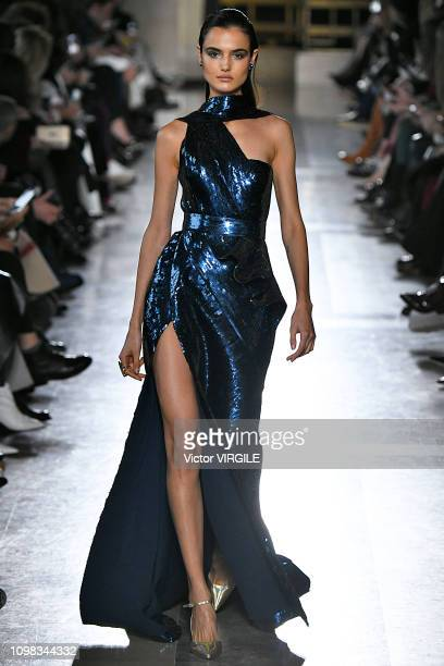 Blanca Padilla walks the runway during the Elie Saab Haute Couture Spring Summer 2019 fashion show as part of Paris Fashion Week on January 23 2019...