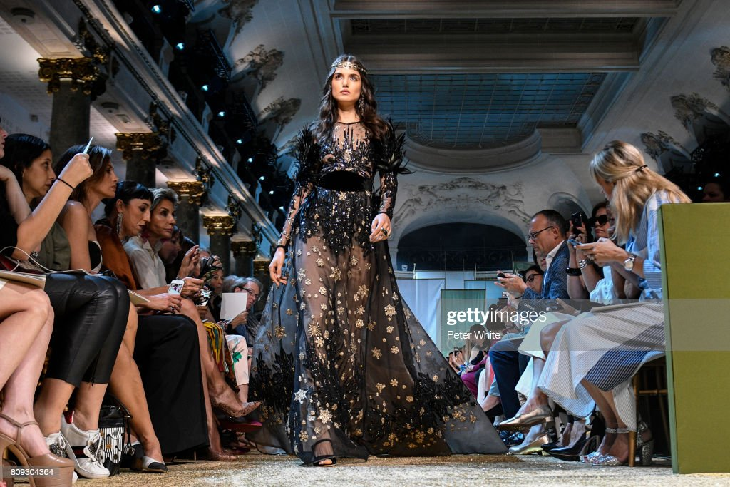 Blanca Padilla walks the runway during the Elie Saab Haute Couture Fall/Winter 2017-2018 show as part of Haute Couture Paris Fashion Week on July 5, 2017 in Paris, France.