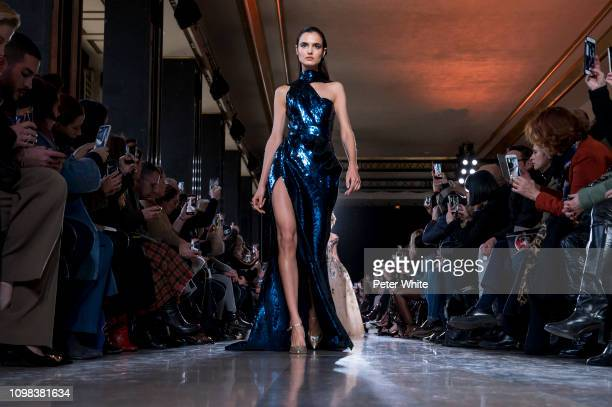 Blanca Padilla walks the runway during the Elie Saab Spring Summer 2019 show as part of Paris Fashion Week on January 23 2019 in Paris France