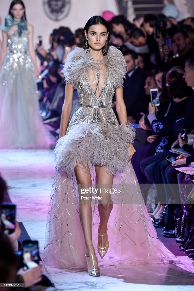Blanca Padilla walks the runway during the Elie Saab Spring Summer 2018 show as part of Paris Fashion Week on January 24, 2018 in Paris, France.