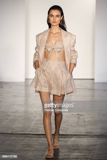Blanca Padilla walks the runway wearing Zimmermann Resort 2018 at Industria Studios on June 15 2017 in New York City