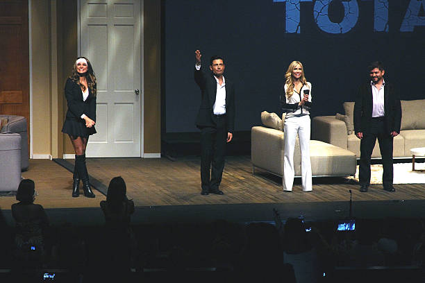Blanca Soto, Fernando Colunga, Aylin Mujica and Ernesto Laguardia in 'Obscuro Total' At Bellas Artes on March 2, 2014 in San Juan, Puerto Rico.