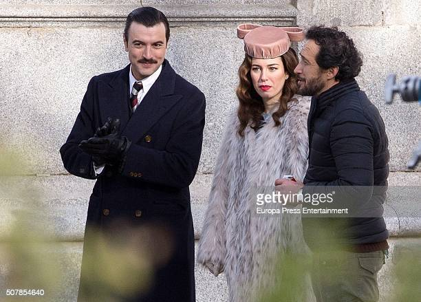 Blanca Suarez and Javier Rey are seen during the filming of 'Lo Que Escondian Sus Ojos' Tv serie on January 29 2016 in Madrid Spain