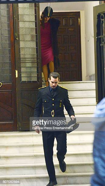 Blanca Suarez and Ruben Cortada are seen during the filming of 'Lo Que Escondian Sus Ojos' Tv serie on January 26 2016 in Madrid Spain