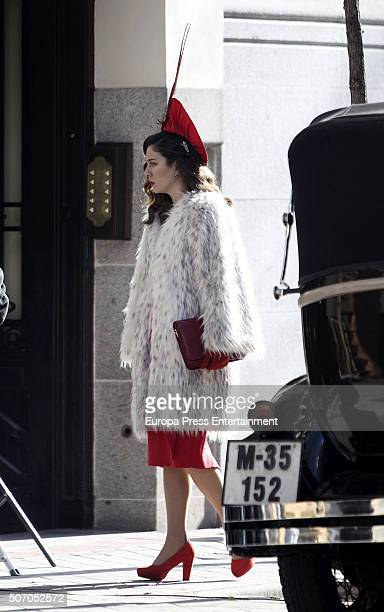 Blanca Suarez is seen during the filming of 'Lo Que Escondian Sus Ojos' Tv serie on January 26 2016 in Madrid Spain