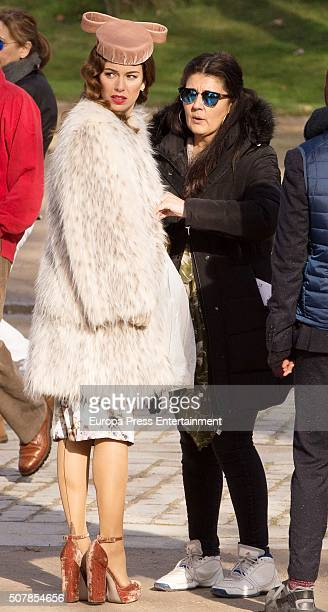 Blanca Suarez is seen during the filming of 'Lo Que Escondian Sus Ojos' Tv serie on January 29 2016 in Madrid Spain