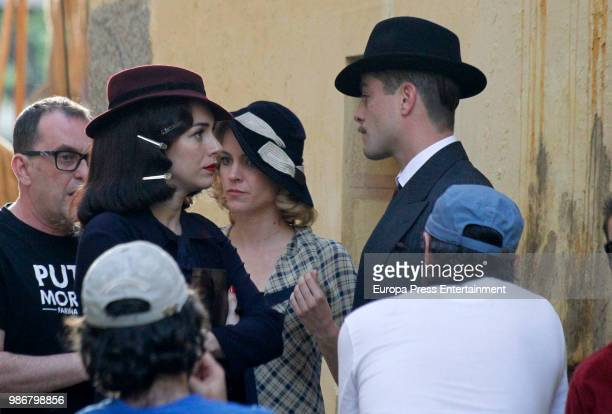 Blanca Suarez Luis Fernandez and Maggie Civantos are seen during the set filming of the Netflix serie 'Las Chicas del Cable' on April 26 2018 in...