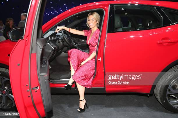 Blanca Suarez sits in the car during the Jaguar Land Rover global reveal and presentation of the premium compact SUV 'EPACE' car at ExCel on July 13...