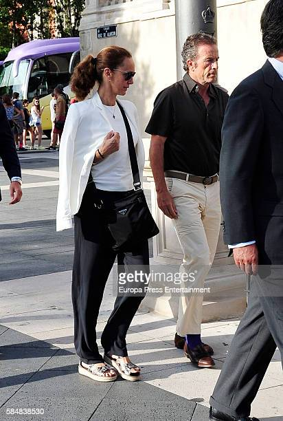 Blanca Suelves and Joannes Osorio attend Jose Maria Trevino's funeral on July 11 2016 in Madrid Spain