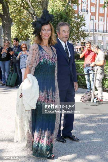 Blanca Suelves and Johannes Osorio attend the wedding of Fernando FitzJames Stuart and Sofia Palazuelo at Liria Palace on October 6 2018 in Madrid...