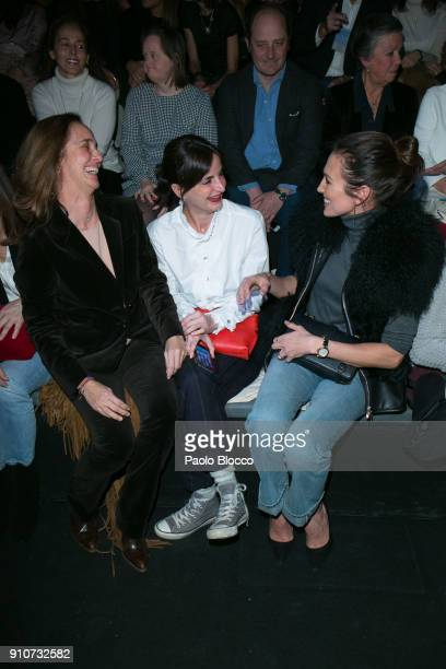 Blanca Suelves Maria Fitz James and Nives Alvarez attends the front row of Duyos show during Mercedes Benz Fashion Week Madrid Autumn / Winter 2018...
