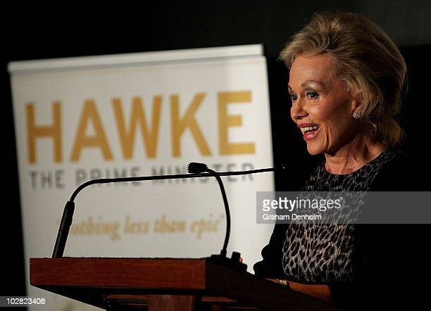 Blanche d'Alpuget author and wife of former Australian Prime Minister Bob Hawke makes a speech during the launch of d'Alpuget's biography Hawke The...