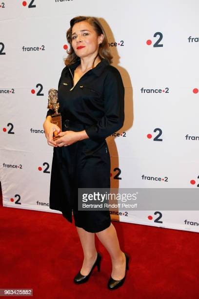 Blanche Gardin poses with his Moliere for Best Humorist during the Ceremonie des Molieres 2018 at Salle Pleyel on May 28 2018 in Paris France