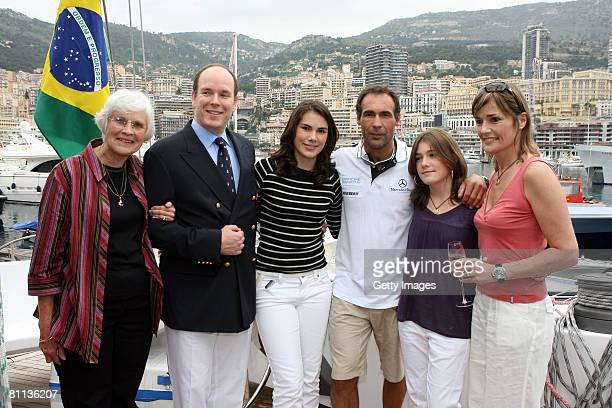 Blanche Horn HSH Price Albert of Monaco Annika Horn Mike Horn Jessica Horn and Cathy Horn pose on board the boat 'Pangaea' after its baptism on May...