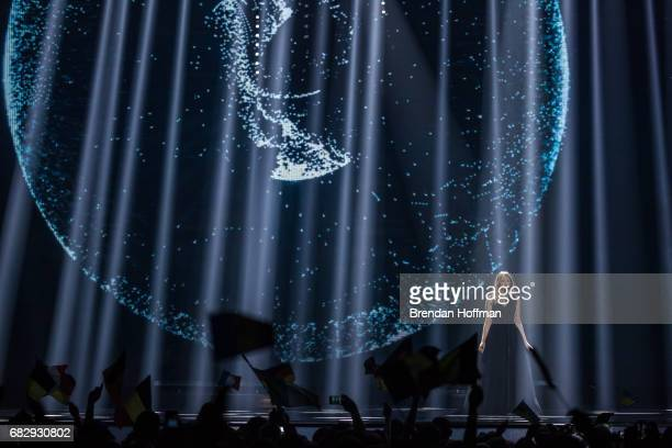 Blanche the contestant from Belgium performs at the Eurovision Grand Final on May 13 2017 in Kiev Ukraine Ukraine is the 62nd host of the annual...
