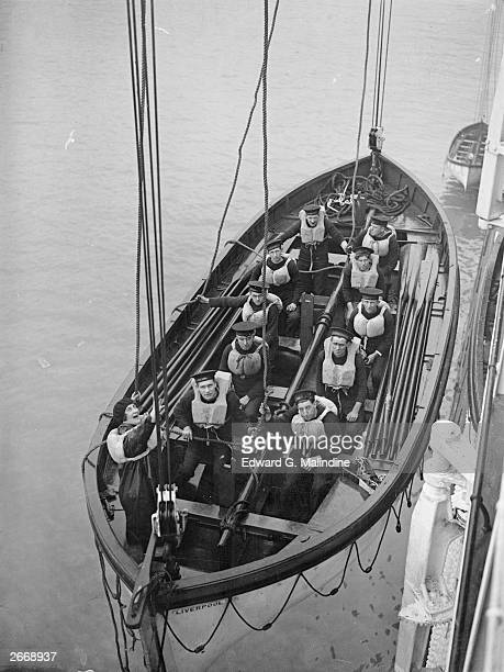 Blanche Tucker chief cashier of the White Star liner Majestic gives the order to lower the lifeboat during a practice session She is the first woman...