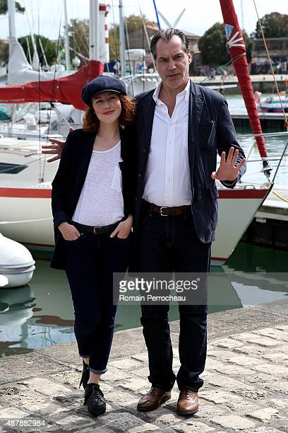 "Blandine Bellavoir and Samuel Labarthe attends the photocall of ""Petits Meurtres d'Agatha Christie"" as part of the 17th Festival of TV Fiction of La..."