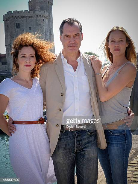 Blandine Bellavoir, Samuel Labarthe and Elodie Frenck attend the photocall of 'Les Petits Meutres' as part of 16th Festival of TV Fiction of La...