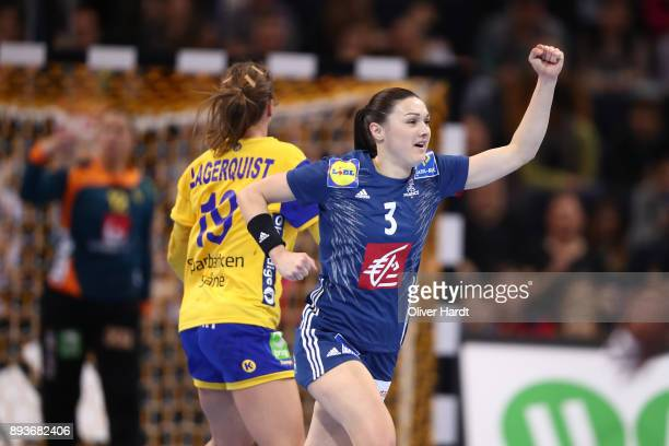 Blandine Dancette of France celebrate during the IHF Women's Handball World Championship Semi Final match between Sweden and France at Barclaycard...