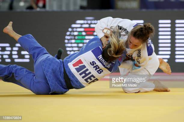 Blandine Pont of France and Milica Nikolic of Serbia compete in the Women's -48kg semifinal match during day one of the Judo Grand Prix Zagreb 2021...