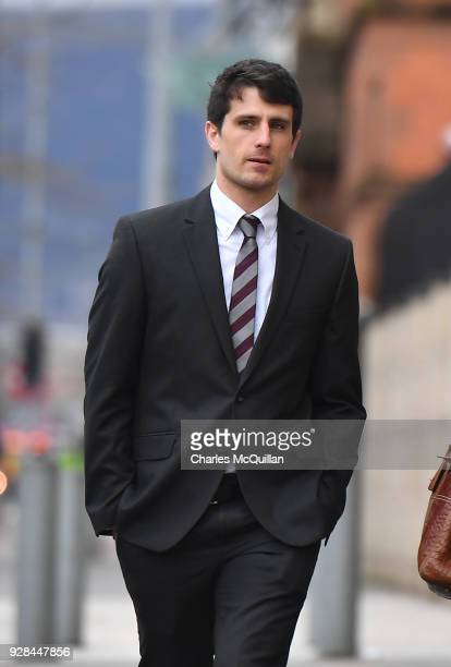 Blane McIlroy arrives at Belfast Laganside courts on March 7 2018 in Belfast Northern Ireland Ireland and Ulster rugby players Paddy Jackson and...