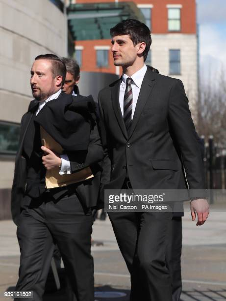 Blane McIlroy leaving Belfast Crown Court after being found not guilty of exposure