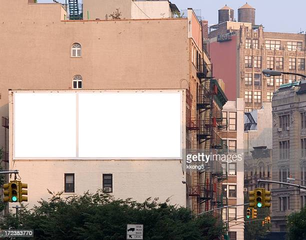 blank ad billboard space in manhattan - new york city stockfoto's en -beelden