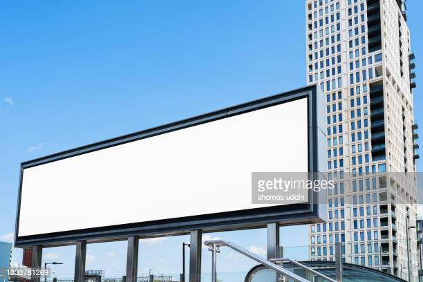 blank advertising screen against soft blue sky - europe stock pictures, royalty-free photos & images