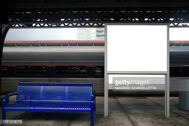 blank and white billboard at one train station in united states of america. - railway station stock pictures, royalty-free photos & images