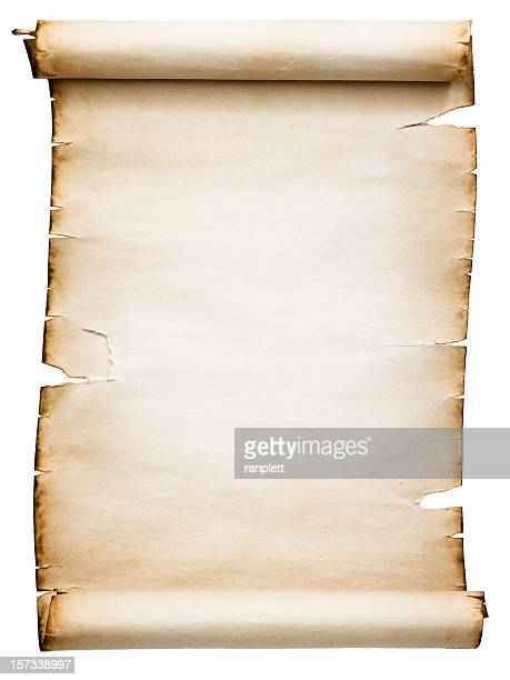 blank antique scroll (clipping path; xxl) - scroll stock photos and pictures